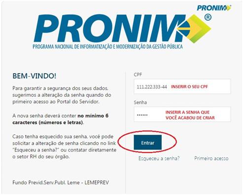 Acesso ao portal PRONIM