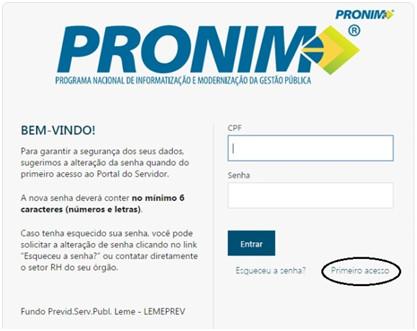 Como cadastrar uma senha no portal PRONIM - Login/cadastro