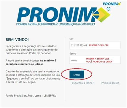 Como cadastrar uma senha no portal PRONIM - Testar login