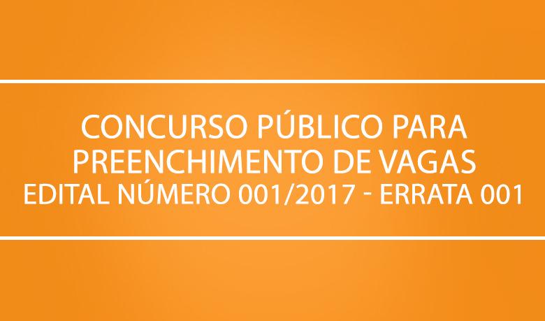Concurso público para preenchimento de vagas edital 0012017 errata001